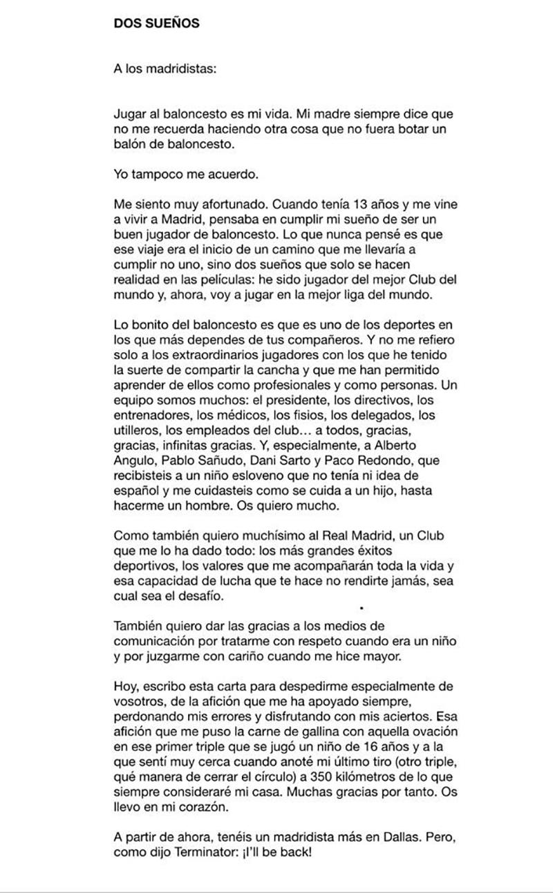 Así de despidió Luka Doncic del Madrid