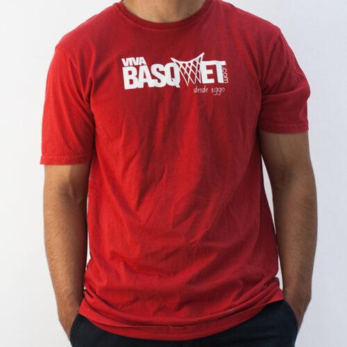 Playera roja con logotipo de vivabasquet.com