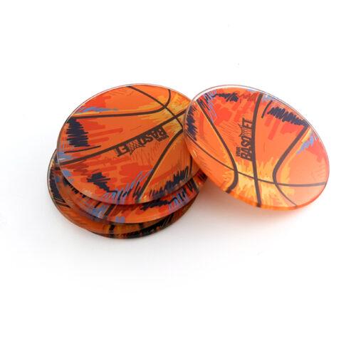 portavasos de vidrio con diseño de balon a la venta en viva basquet tienda