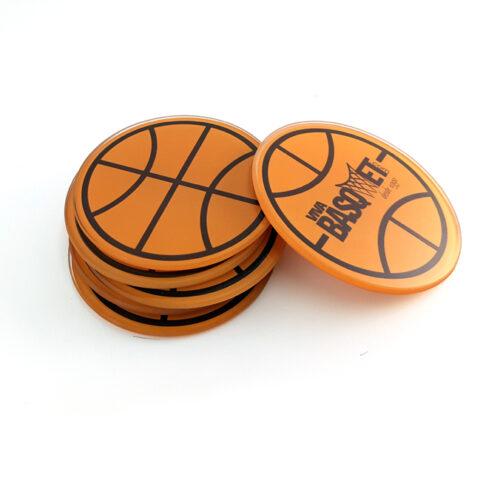 portavasos de vidrio con diseño de balon y logo a la venta en viva basquet tienda