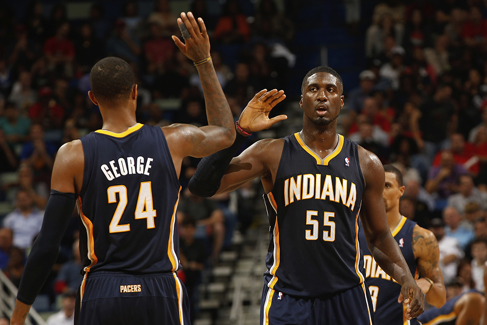 Paul George & Roy Hibbert en viva basquet reviste de basketball