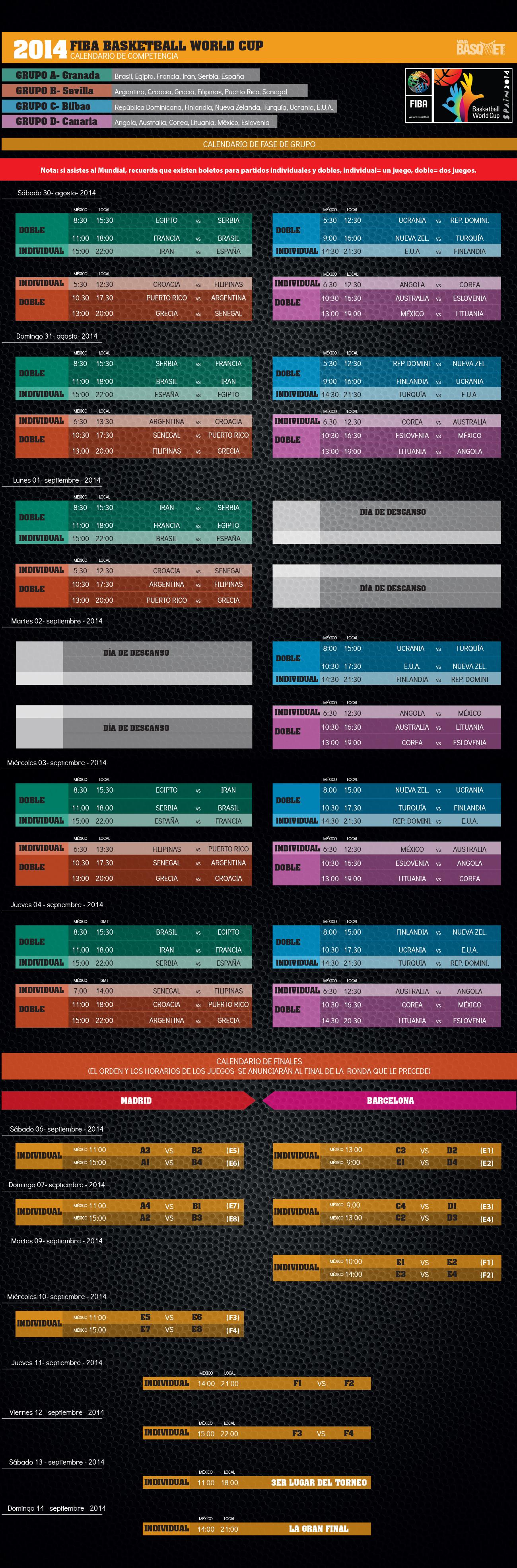 calendario del mundial de basketball 2014 en viva basquet