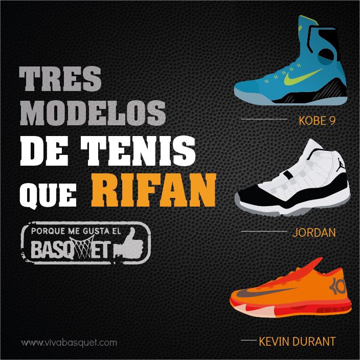 Tres modelos de tenis que rifan por Viva Basquet.