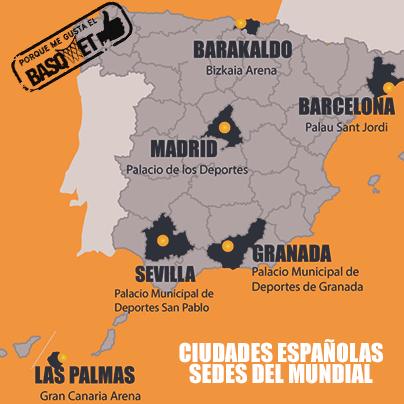 Las ciudades españolas sedes del Mundial por Viva Basquet.