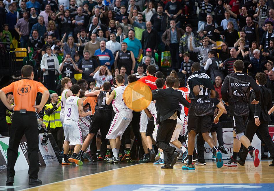 Batalla campal entre el Bilbao y el Laboral Kutxa por viva basquet