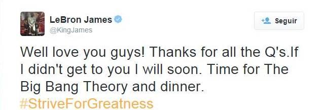 LeBron responde a sus fans  por twitter