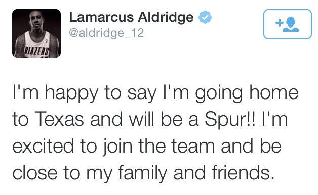 LaMarcus Aldridge elige a los Spurs