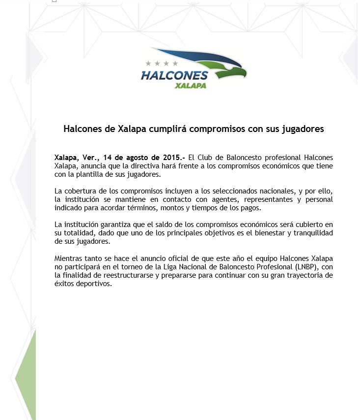 Halcones Xalapa reconoce adeudos por Viva Basquet