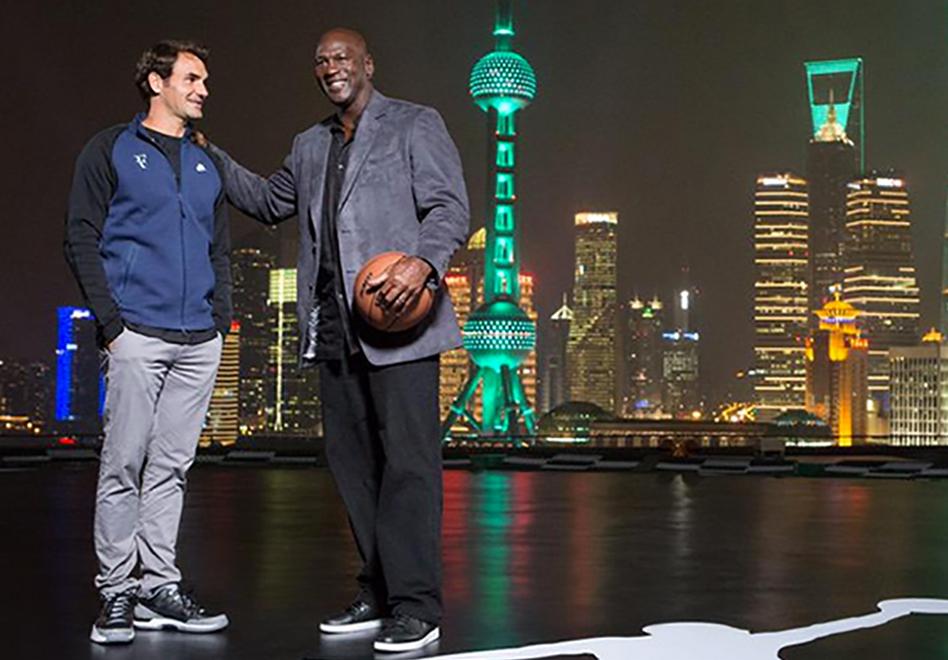 Encuentro de leyendas, michael Jordan y Federer