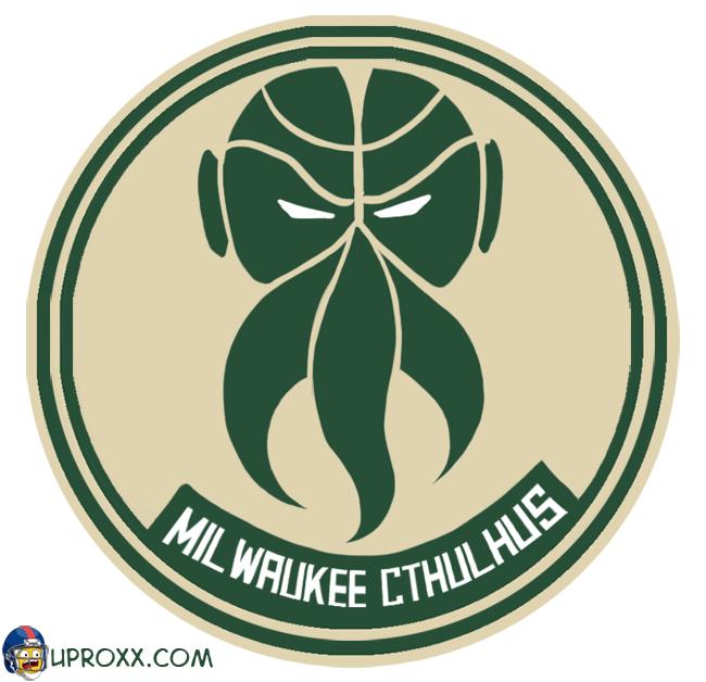 Los logos de la NBA al estilo Halloween, milwaukee