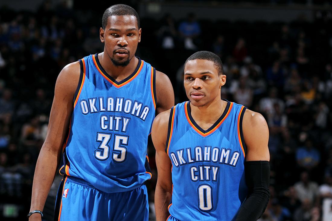 Russell Westbrook y Kevin Durant de Los mejores del diciembre en la NBA