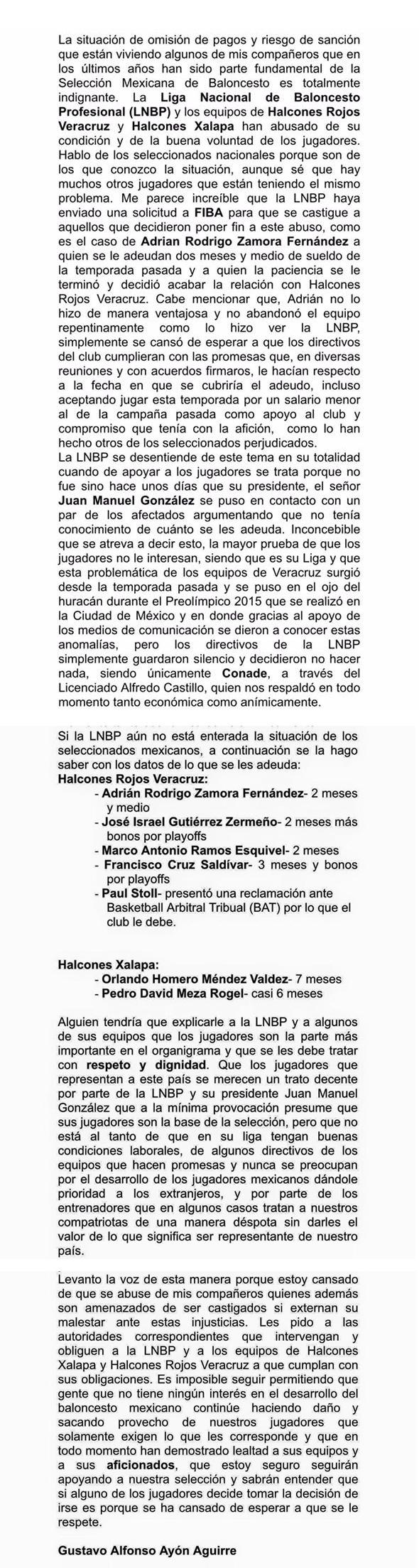 Gustavo Ayón alza la voz contra la LNBP porque no han pagado a sus jugadores