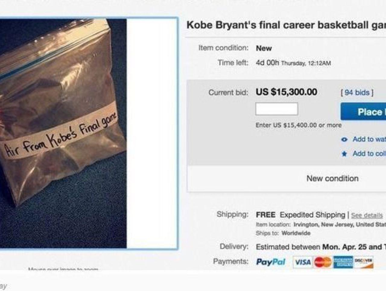 Subastan aire del último partido de Kobe en ebay y se vende en mas de 16o000 dolares