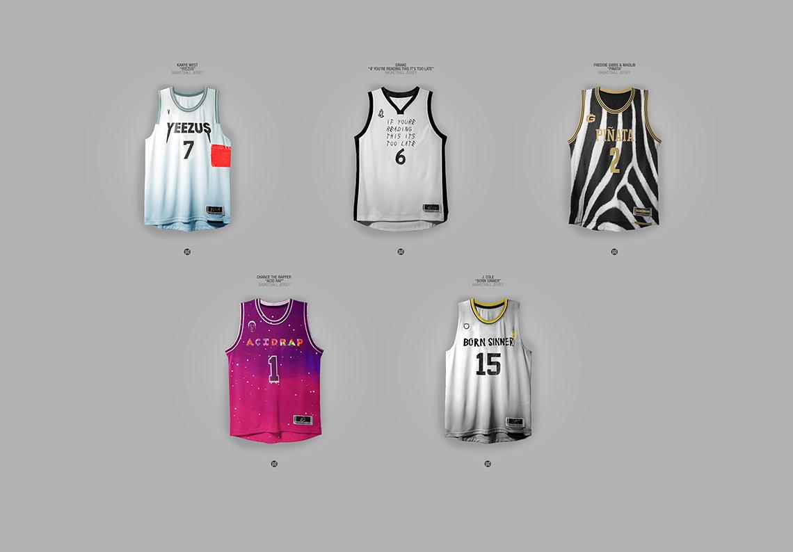 thumbnail. Los jerseys de basquetbol inspirados en álbums de hip hop.