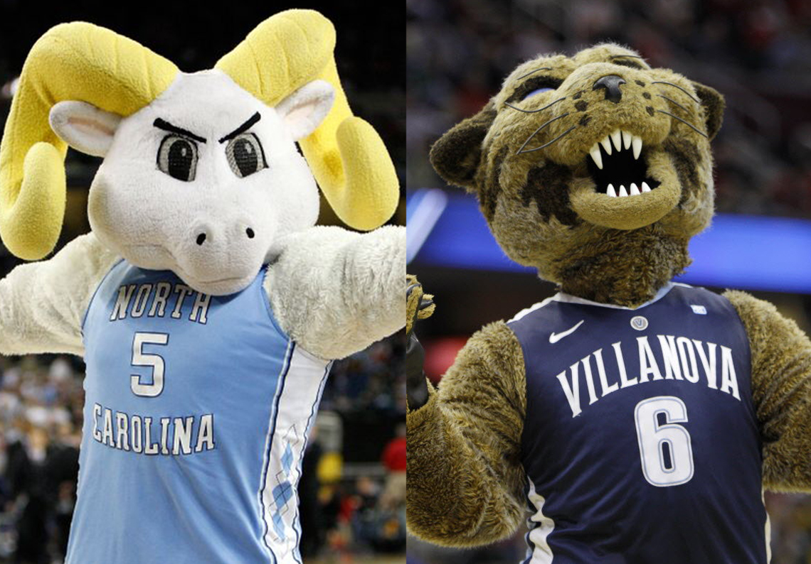 mascotas de la Universidad de Villanova y de la Universidad de Carolina del Norte