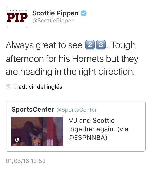 twitter de pippen sobre la visita sorpresa que le hizo a jordan