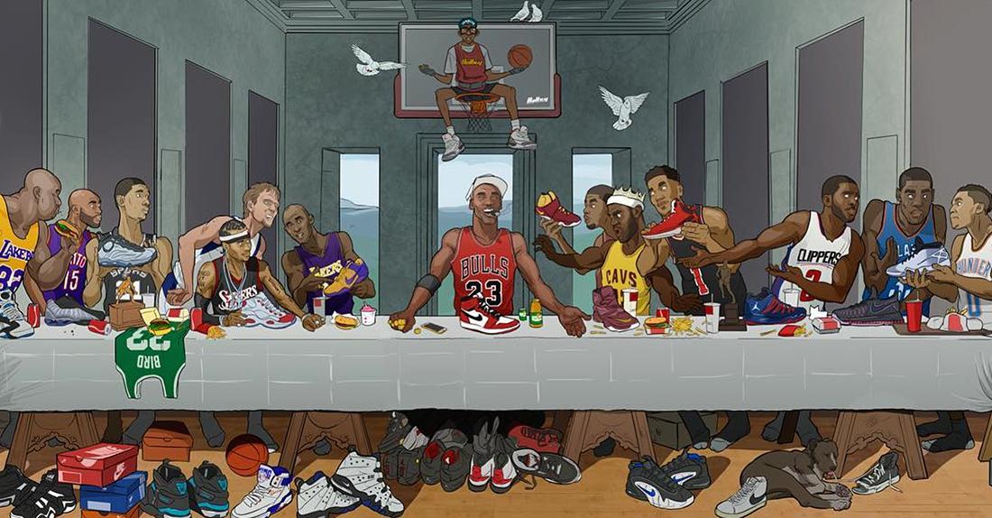 Mural inspirado en la última cena con basquetbolistas