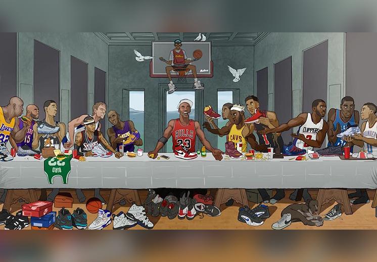Mural inspirado en la última cena con basquetbolistas por Viva Basquet