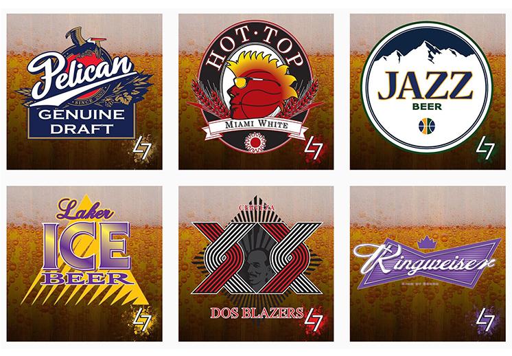 logos de la NBA al estilo de cervezas