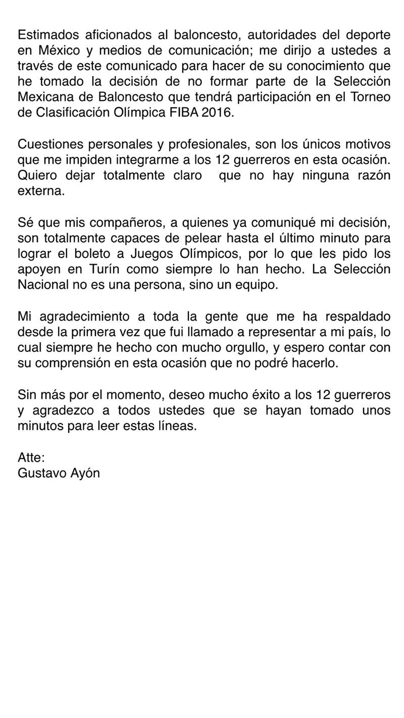 COMUNICADO DE GUSTAVO AYON, que no va a jugar con la seleccion mexicana en el repechaje para ir a rio 16