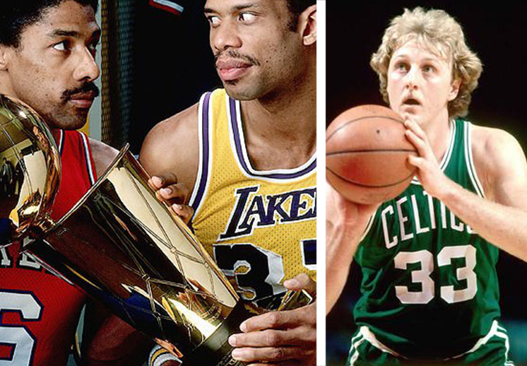 julius irving vs kareem y tambien esta larry bird en la foto