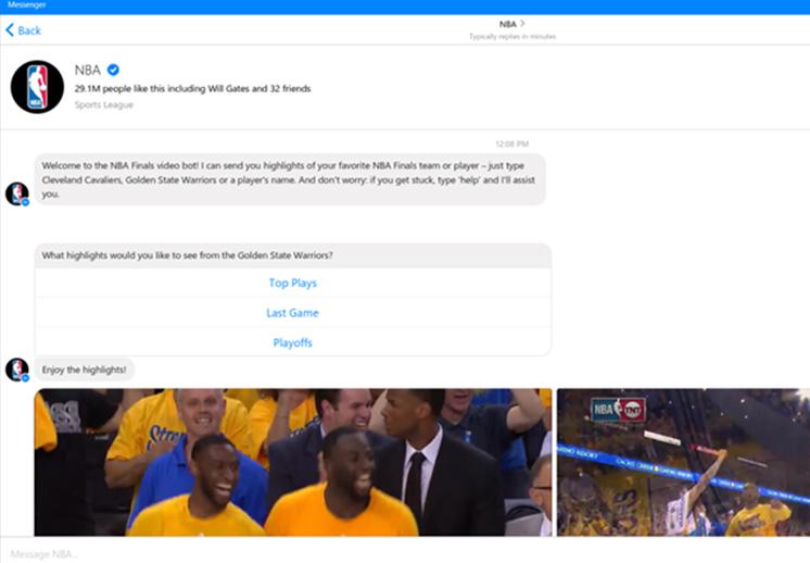 thumbnail. La NBA lanzó un chatbot en Facebook Messenger durante las Finales