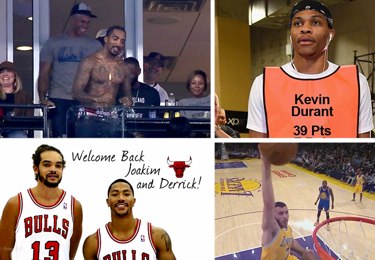 canasteando. Westbrook, JR Smith, Rose y Noah