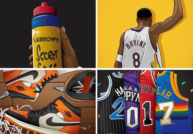 ilustraciones inspiradas por el basquetbol