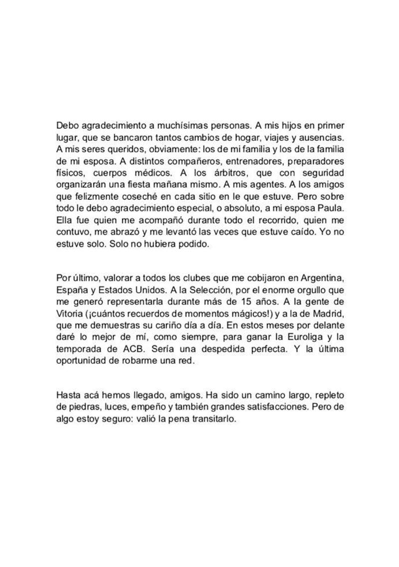 CARTA de despedida de Andrés Nocioni