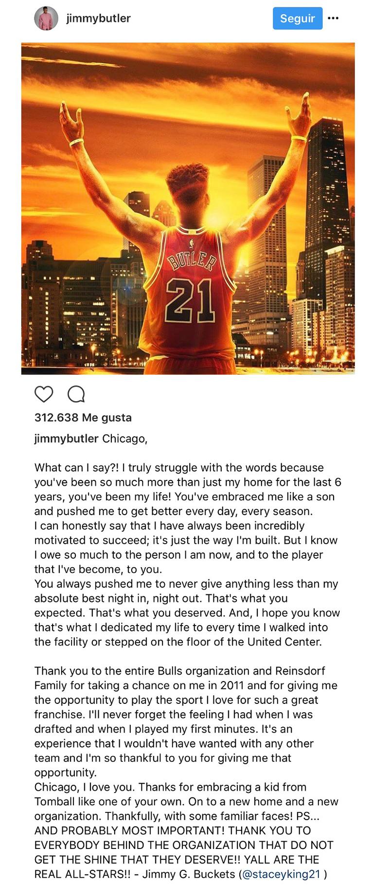 Jimmy Butler se despidió de Chicago foto 2