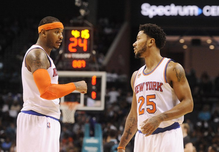 Carmelo Anthony y Derrick Rose dispuestos a salir de los Knicks
