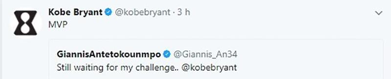 El reto de Kobe a Giannis