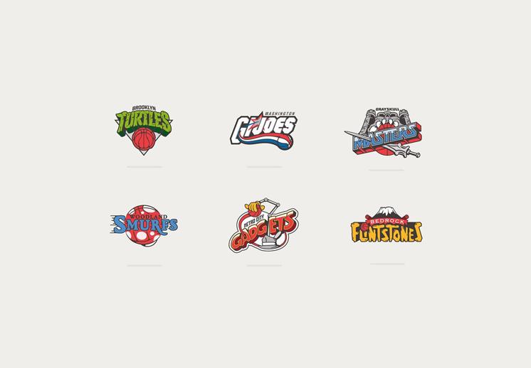 thumbnail. Los logos de la NBA y las caricaturas de los 80s