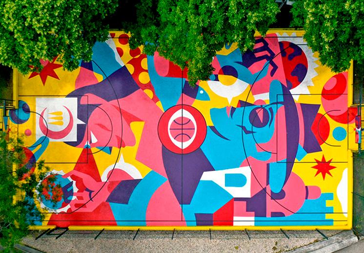 Una cancha de Una cancha de basquet muy coloridabasquet muy colorida