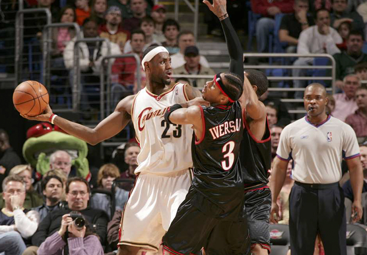 lebron and Iverson playing