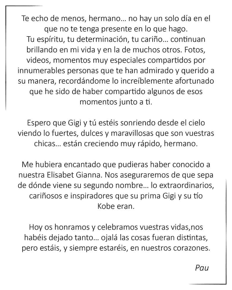 El tributo de Pau Gasol a su hermano Kobe Bryant 2