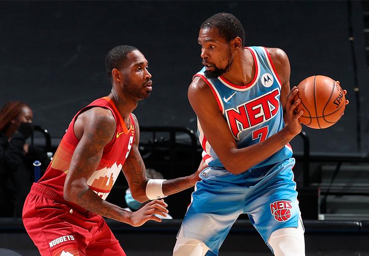 Sin Kyrie, Durant y los Nets remontan a Nuggets
