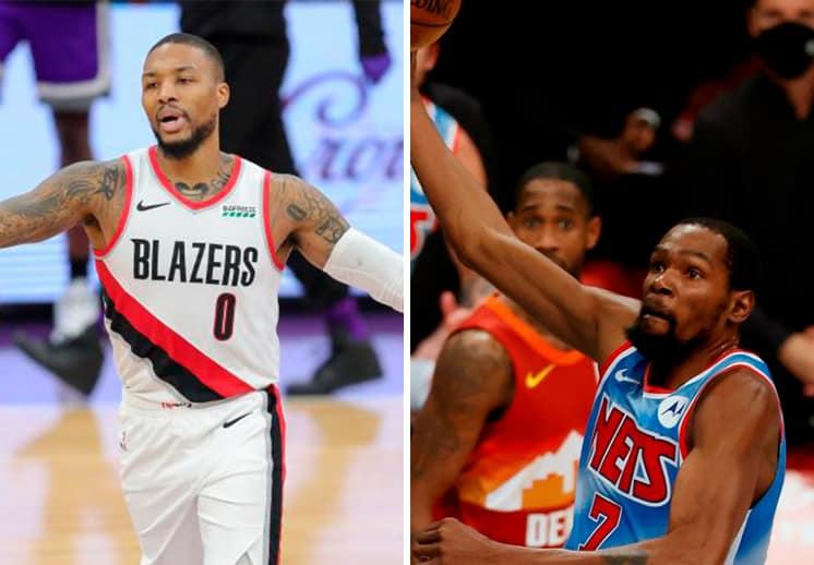 Damian Lillard y Kevin Durant los mejores de la semana en la NBA