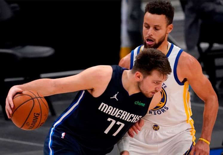 Espectacular duelo entre Luka Doncic y Stephen Curry, los Mavs se llevaron el triunfo
