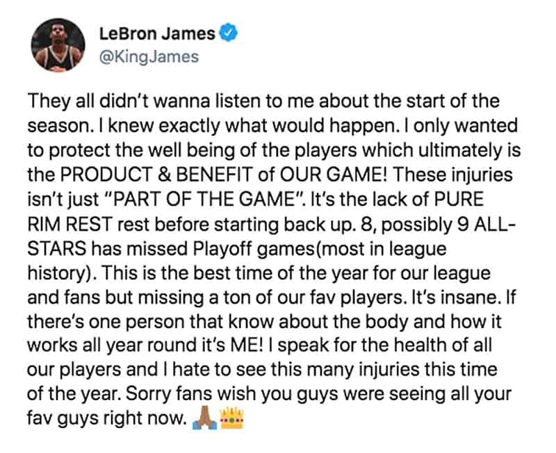 Nueva crítica de LeBron James a la NBA 1