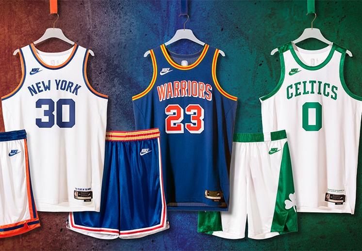 Knicks, Warriors y Celtics celebran los 75 años de la NBA con jerseys edición especial DEST