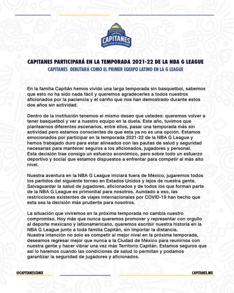 Capitanes debutará en la NBA G- League fuera de México 1