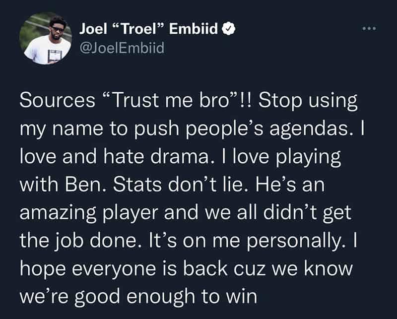 Joel Embiid enfurece contra los rumores y quiere de vuelta a Ben Simmons 1